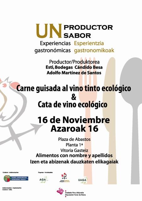 Carne guisada de ternera Terreña con vino tinto ecológico D. O. Rioja Alavesa