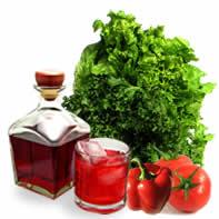 Patxaran, tomate y lechuga de la tierra